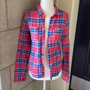 Hollister Pink Plaid Button Down Shirt
